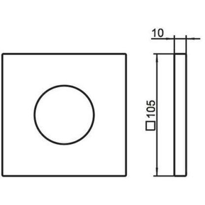 KEUCO KE Wandrosette IXMO 59556, für Ab- und Umstellv.,eckig,105x105mm,Schwchr.pol.