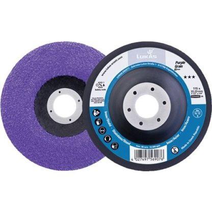 10er Pack LUKAS Kompaktschleifteller Purple Grain Single D115mm K.36 gekröpft CO
