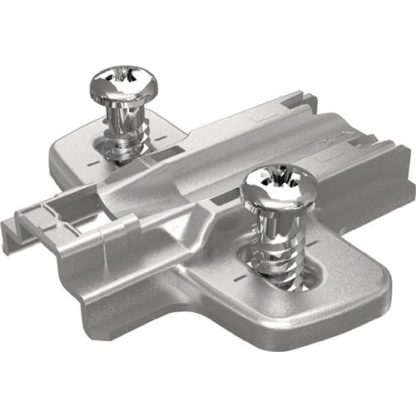 Hettich Kreuzmontageplatte mit vormontierten Euroschrauben Distanz 3mm Stahl vernickelt für Eckanschläge Sys. 8099