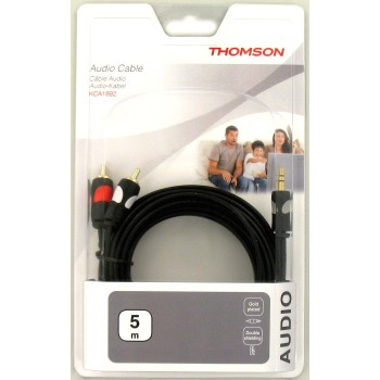 Thomson Audio-Kabel, 2 Cinch – 3,5-mm-Klinke Stereo vergoldet  5,0 m