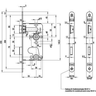 BKS Zimmertür-Einsteckschloss BAD 20/ 55/78/8mm DIN R silber rd Kl 1