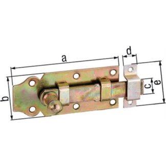 GAH Alberts Türriegel Länge 140mm Breite 52mm STA galv. gelb verzinkt ger.