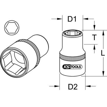 1x KS Tools 1/2″ CHROMEplus Sechskant-Stecknuss, 31mm 918.1231