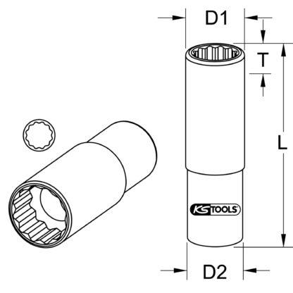 1x KS Tools 1/2″ CHROMEplus 12-kant-Stecknuss, lang 918.1284, 5/8″