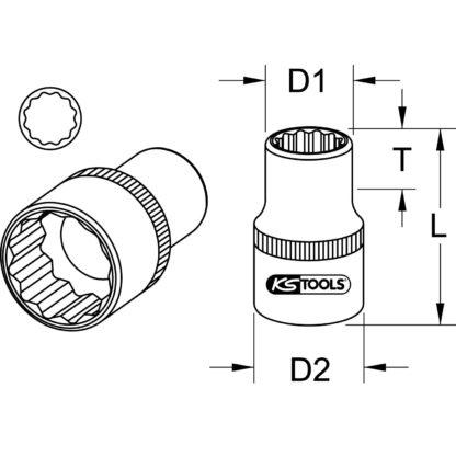 1x KS Tools 1/2″ CHROMEplus 12kant-Stecknuss, 5/8″