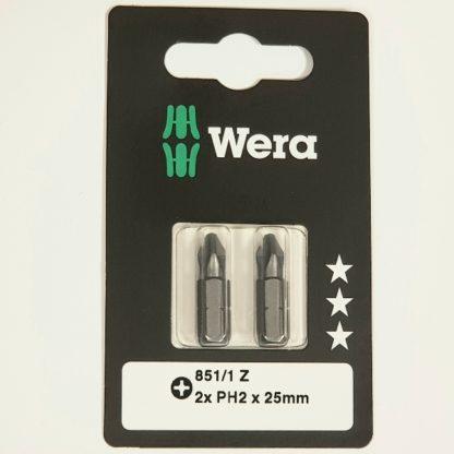 Wera Bit PH Größe 2 L.25mm 1/4 Zoll 6KT C6,3 zähh. Karte mit 2 St. 851/1 Z SB