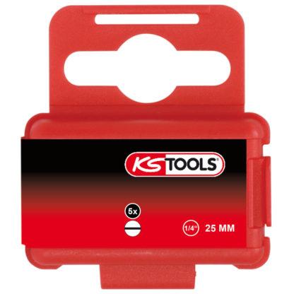 KS Tools 1/4″ Bit Schlitz, 25mm, 8mm, 5er Pack 911.2253