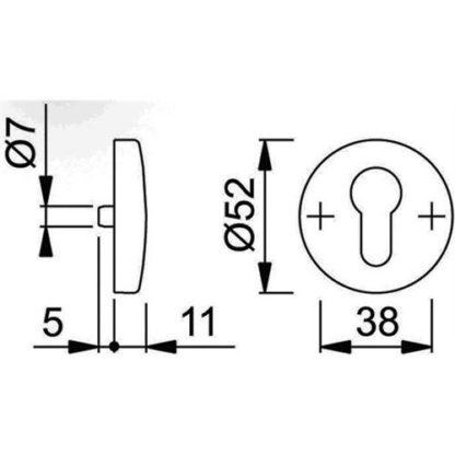HOPPE Schlüsselrosette 19S/E19S Aluminium F1 Schildstärke 11mm PZ rd. 3559344
