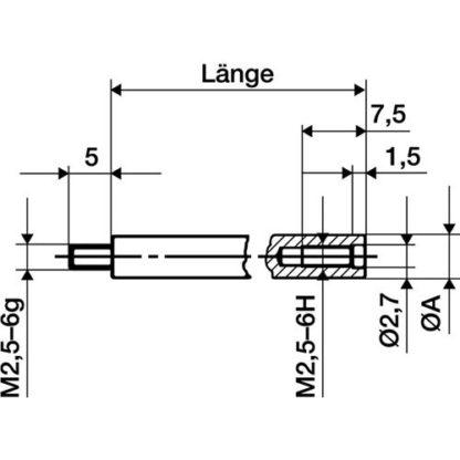 Käfer Verlängerungsstück Länge 50mm Messbolzen-Durchmesser 4mm für Messuhren