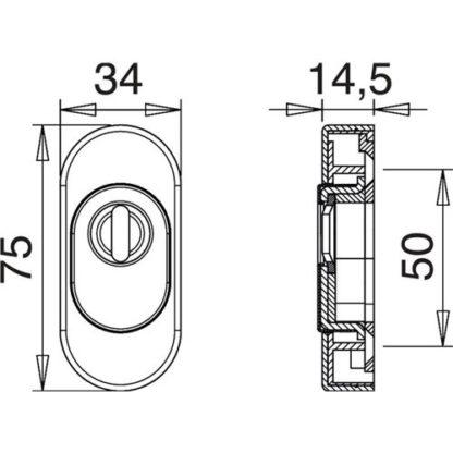 EDI Schlüsselrosette 815ZA Alu. F12 weiß Schildstärke 15mm PZ oval