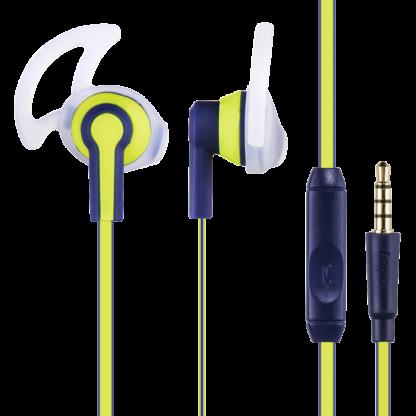 "hama In-Ear-Stereo-Headset ""Reflective"" Blau/Gelb 177017 Ohrhörer 3,5-mm-Klinke"