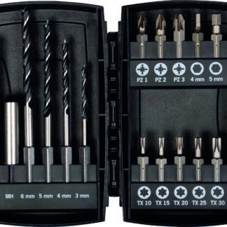 PROJAHN Bohrer-Bit-Box 15-tlg. Holzbohrer E 6.3 Schaft 3, 4, 5, 6 mm PZ, TX, Hex