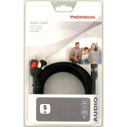 5 Meter Thomson Audio-Kabel, 2 Cinch – 3,5-mm-Klinke Stereo vergoldet  5,0 m